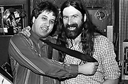 Joe Bonadonna & Pierre Robert @ WMMR circa 1985 in Philadelphia, Pennsylvania. -- (Photo by William Thomas Cain/Cain Images for WMMR).