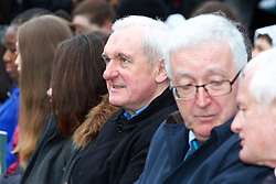 The Interfaith Service and Unveiling of Necrology Wall, Glasnevin Cemetery, Sunday 3 April 2016.<br /> Bertie Ahern and John Green, Chairman of the Glasnevin Trust.