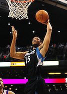 Apr. 11, 2011; Phoenix, AZ, USA; Minnesota Timberwolves forward Anthony Randolph (15) puts up the ball  against the Phoenix Suns at the US Airways Center. The Suns defeated the Timberwolves 135 -127 in overtime. Mandatory Credit: Jennifer Stewart-US PRESSWIRE