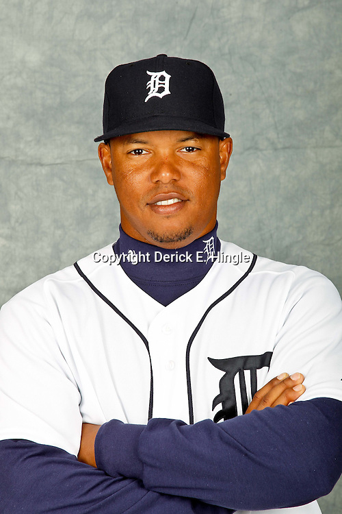 February 28, 2012; Lakeland, FL, USA; Detroit Tigers second baseman Ramon Santiago (39) poses for photo day in the rec room at the Detroit Tigers Headquarters.  Mandatory Credit: Derick E. Hingle-US PRESSWIRE