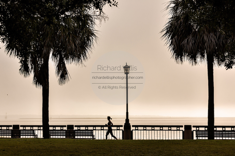 A jogger runs through the fog along Waterfront Park in the French Quarter of historic Charleston, SC.