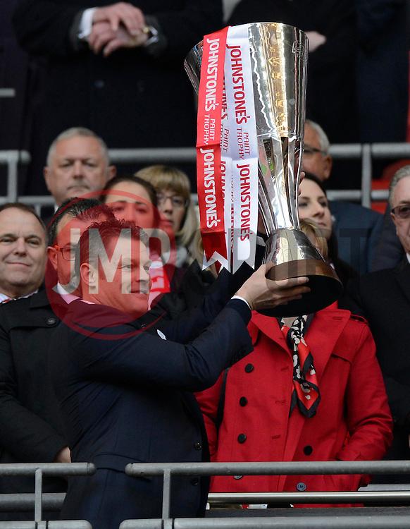 Bristol City manager, Steve Cotterill lifts the JPT trophy  - Photo mandatory by-line: Joe Meredith/JMP - Mobile: 07966 386802 - 22/03/2015 - SPORT - Football - London - Wembley Stadium - Bristol City v Walsall - Johnstone Paint Trophy Final
