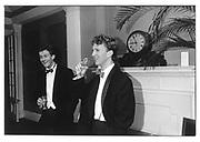 James Astor and Simon Sebag-Montefiore at the Pitt Club ball 1987. © Copyright Photograph by Dafydd Jones 66 Stockwell Park Rd. London SW9 0DA Tel 020 7733 0108 www.dafjones.com