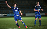 Sam Walker (Halifax) starts to celebrate his goal during the Conference Premier League match between FC Halifax Town and Guiseley at the Shay, Halifax, United Kingdom on 5 December 2015. Photo by Mark P Doherty.