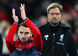 Swansea City caretaker manager Leon Britton applauds the fans ahead of Liverpool manager Jurgen Klopp - Mandatory by-line: Matt McNulty/JMP - 26/12/2017 - FOOTBALL - Anfield - Liverpool, England - Liverpool v Swansea City - Premier League
