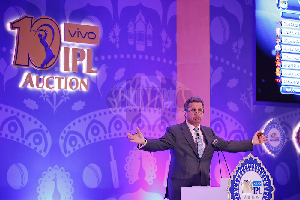 Richard Madley during the Vivo IPL 2017 Player Auction held at the Carlton-Ritz hotel in Bangalore on the 20th February  2017<br /> <br /> Photo by Deepak Malik / IPL / SPORTZPICS