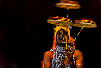 "Balancing spinning disks, ""Dances of Sri Lanka"" cultural performance, Kandy, Central Province, Sri Lanka."