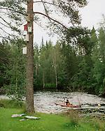 Sävarån, the small river that passes through Gravmark and the birds' own tower block. ..Fåglarna har fått sitt eget hyreshus på Stina Engströms och Joakim Öjeryds lilla ö i Sävarån, Gravmark.