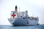 The hospital ship USS Comfort in Haiti off Port-au-Prince serves as part of the United States' relief effort for the earthquake-stricken nation. The 7.7 earthquake that struck Haiti on January 12, 2010 killing 200,000 and leaving over 1 million dead.