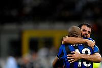 """Douglas MAICON celebrates scoring with Dejan STANKOVIC<br /> Esultanza di Douglas MAICON dopo il gol<br /> Milano 29/8/2009 Stadio """"Giuseppe Meazza""""<br /> Campionato Italiano Serie A 2009/2010<br /> Milan Inter 0-4<br /> Foto Insidefoto"""