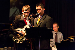 On the saxophone is BrandonLee Cierley with Elliott Turner on guitar and Thomas Horn drums with the PLU Jazz Ensemble at Tula's Jazz Club in Seattle on Sunday, May 3, 2015. (Photo: John Froschauer/PLU)