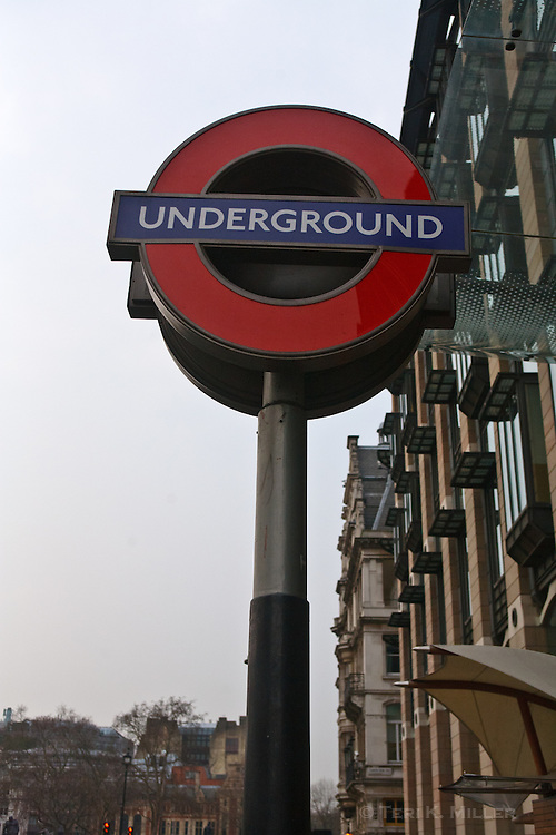 Underground sign in Westminster, London, England.
