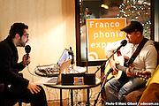 Portrait en direct de Christian Marc Gendron lors de l'émission radiophonique Francophonie Express  à  Bar Alice de l'hôtel Omni / Montreal / Canada / 2015-03-03, Photo © Marc Gibert / adecom.ca