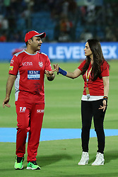 May 8, 2018 - Jaipur, Rajasthan, India - Kings XI Punjab team co-owner Preity Zinta and tea, DCO Virendra Shewag during the IPL T20 match against Rajasthan Royals at Sawai Mansingh Stadium in Jaipur,Rajasthan,India on 8th May,2018.(Photo By Vishal Bhatnagar/NurPhoto) (Credit Image: © Vishal Bhatnagar/NurPhoto via ZUMA Press)