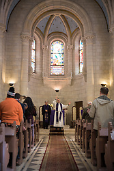 1 March 2020, Bethlehem: Rev. Munther Isaac gives the blessing at the end of Sunday service in the Evangelical Lutheran Christmas Church in Bethlehem.