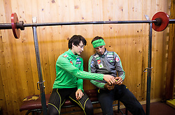 Cene Prevc and Robert Kranjec during fitness training of Slovenian Ski jumping National A team, on May 6, 2016, in Stadium Kranj, Slovenia.Photo by Vid Ponikvar / Sportida
