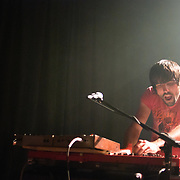 Malajube band member Thomas Augusting at the keys during a concert in 2010.