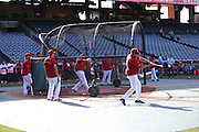 ANAHEIM, CA - MAY 21:  Los Angeles Angels of Anaheim players take batting practice before the game against the Houston Astros at Angel Stadium on Wednesday, May 21, 2014 in Anaheim, California. The Angels won the game 2-1. (Photo by Paul Spinelli/MLB Photos via Getty Images)