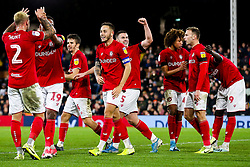 Celebrations after Famara Diedhiou of Bristol City scores a goal to make it 0-2 - Rogan/JMP - 07/12/2019 - Craven Cottage - London, England - Fulham v Bristol City - Sky Bet Championship.