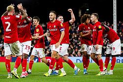 Celebrations after Famara Diedhiou of Bristol City scores a goal to make it 0-2 - Rogan/JMP - 07/12/2019 - Craven Cottage - London, England - Fulham v Bristol City - Sky Bet Championship.