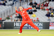 Lancashires Matthew Parkinson celebrates with his third wicket during the Vitality T20 Blast North Group match between Lancashire Lightning and Birmingham Bears at the Emirates, Old Trafford, Manchester, United Kingdom on 10 August 2018.