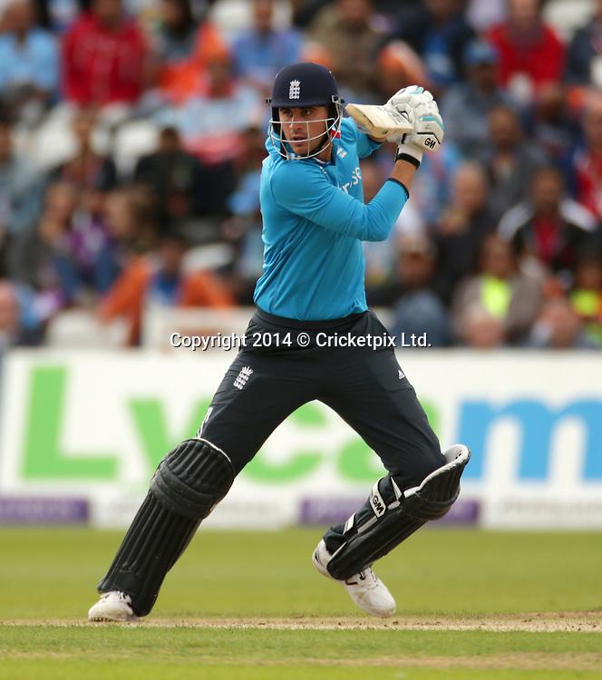 Alex Hales bats during the third Royal London One Day International between England and India at Trent Bridge, Nottingham. Photo: Graham Morris/www.cricketpix.com (Tel: +44 (0)20 8969 4192; Email: graham@cricketpix.com) 300814