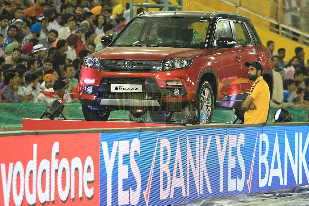 Maruti Brezza car on display during match 13 of the Vivo Indian Premier League ( IPL ) 2016 between the Kings XI Punjab and the Kolkata Knight Riders held at the IS Bindra Stadium, Mohali, India on the 19th April 2016<br /> <br /> Photo by Arjun Singh / IPL/ SPORTZPICS