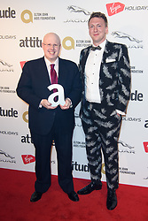 Matt Lucas pictured with presenter Joe Lycett backstage at the Attitude Awards, where he won won the Comedy award, at the Roundhouse in North London. Picture date: Thursday October 12th, 2017. Photo credit should read: Matt Crossick/ EMPICS Entertainment.