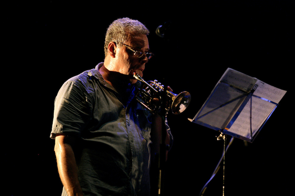 """Trumpet player Herb Robertson during a """"Lou Grassi's avanti Galopi"""" performance. """"Jazz ao Centro"""" jazz festival is held twice a year in portuguese town of Coimbra."""