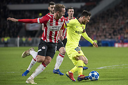 November 28, 2018 - Eindhoven, Netherlands - Lionel Messi of Barcelona and Luuk de Jong of PSV fight for the ball during the UEFA Champions League Group B match between PSV Eindhoven and FC Barcelona at Philips Stadium in Eindhoven, Netherlands on November 28, 2018  (Credit Image: © Andrew Surma/NurPhoto via ZUMA Press)
