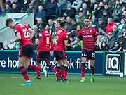 4th November 2017, Easter Road, Edinburgh, Scotland; Scottish Premiership football, Hibernian versus Dundee; Dundee's Marcus Haber is congratulated after scoring by Cammy Kerr