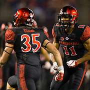 20 October 2018: San Diego State Aztecs special teams Will Stricklin II (11) celebrates after a tackle in the second quarter. The Aztecs beat the Spartans 16-13 Saturday night at SDCCU Stadium.