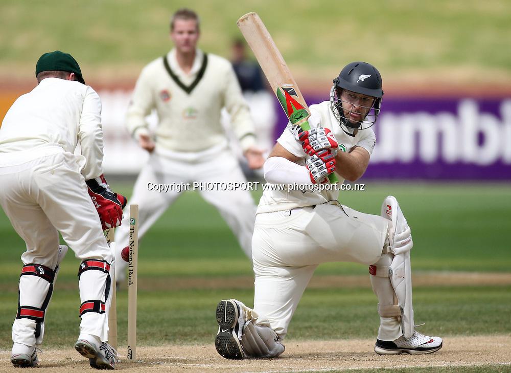 New Zealand batsman Daniel Vettori is bowled around his legs.<br />Test Match Cricket. 1st test. Day 4.<br />New Zealand Black Caps versus Australia. Basin Reserve, Wellington, New Zealand. Monday 22 March 2010. <br />Photo: Andrew Cornaga/PHOTOSPORT