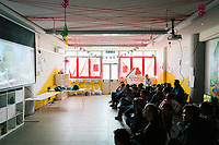 """NAPLES, ITALY - 16 MARCH 2018: Elementary school children watch """"Inside Out"""", a 3D animated comedy-drama, during after-school activity at """"Il Tappeto di Iqbal"""" (Iqbal's carpet), a non-profit cooperative in Barra, the estern district of Naples, Italy, on March 16th 2018.<br /> <br /> Il Tappeto di Iqbal (Iqbal's Carpet) is a non-profit cooperative founded in 2015 and Save The Children partner since 2015 that operates in the Naple's eastern neighborhood of Barra children in the arts of circus, theater and parkour. It was named after Iqbal Masih, a Pakistani boy who escaped from life as a child slave and became an activist against bonded labor in the 1990s.<br /> Barra, which is home to some 45,000 people, has the highest rate of school dropouts in the Italian region of Campania. Once a thriving industrial community, many of the factories were destroyed in a 1980 earthquake and never rebuilt. The resulting de-industrialization turned Barra into a poor, decaying neighborhood. There are no cinemas, theaters, parks or public spaces in Barra.<br /> The vast majority of children from poor families are faced with the choice of working in the black economy or joining the ranks of the organised crime.<br /> Recently, Save the Children Italy opened a number of educational and social spaces in Barra. The centers, known as Punti Luce, or points of light, aim to help local kids stay out of the ranks of the organised crime and have also become hubs for Iqbal's Carpet to work."""