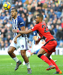 Jose Salomon Rondon of West Bromwich Albion competes with Mathias Zanka Jorgensen of Huddersfield Town- Mandatory by-line: Nizaam Jones/JMP - 24/02/2018 - FOOTBALL - The Hawthorns - West Bromwich, England - West Bromwich Albion v Huddersfield Town- Premier League