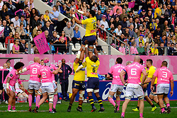 April 7, 2018 - Paris, France - Clermont Lock SITALEKI TIMANI in action during the French rugby championship Top 14 match between Stade Francais and Clermont at Jean Bouin Stadium in Paris - France..Stade Francais won 50-13 (Credit Image: © Pierre Stevenin via ZUMA Wire)