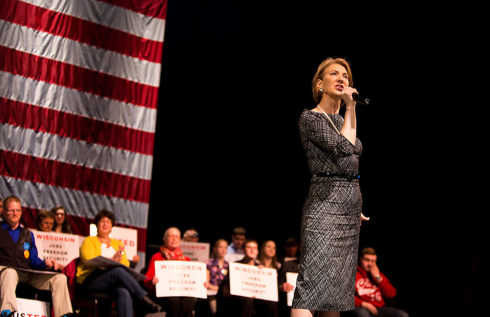 Former Republican Presidential candidate Carly Fiorina speaks at a Sen. Ted Cruz, R-Tx., at the Sharon Lynne Wilson Center for the Arts in Brookfield, Wisconsin on Tuesday, March 29, 2016. REUTERS/Ben Brewer