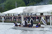 """Henley on Thames, United kingdom,  Steam Launch, """"Consuta"""" moving through the Stewards Enclousure on route to the start at the  Annual 2002 Henley Royal Regatta, Henley Reach, River Thames, England, [Mandatory Credit: Peter Spurrier/Intersport Images] 6/7/2002 - Sat. Messing About on the River 20020703 Henley Royal Regatta, Henley, Great Britain"""