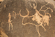 Imitation of an ancient cave drawing on a stone at the Loango granite sanctuary near the town of Ziniare, Burkina Faso, West Africa..
