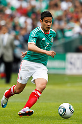 March 26, 2011; Oakland, CA, USA;  Mexico forward Pablo Barrera (7)dribbles the ball against Paraguay during the first half at Oakland-Alameda County Coliseum.