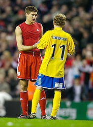 LIVERPOOL, ENGLAND - Saturday, January 26, 2008: Liverpool's captain Steven Gerrard MBE swaps shirts with Havant and Waterlooville's Alfie Potter after the FA Cup 4th Round match at Anfield. (Photo by David Rawcliffe/Propaganda)