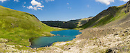 Composite panorama of Hanging Valley Tarn  in South Fork Eagle River in Chugach State Park in Southcentral Alaska. Summer. Afternoon.