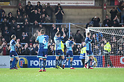 Wycombe Wanderers celebrate at full time during the EFL Sky Bet League 2 match between Wycombe Wanderers and Carlisle United at Adams Park, High Wycombe, England on 3 February 2018. Picture by Stephen Wright.