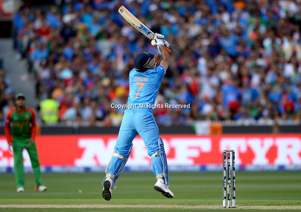 MS Dhoni (India)<br /> India vs Bangladesh / Qtr Final 2<br /> 2015 ICC Cricket World Cup<br /> MCG / Melbourne Cricket Ground <br /> Melbourne Victoria Australia<br /> Thursday 19 March 2015<br /> &copy; Sport the library / Jeff Crow