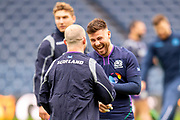 Ali Price (#9) of Scotland jokes with Nick Grigg (#13) of Scotland during the Captain's training run for Scotland at BT Murrayfield, Edinburgh, Scotland on 8 March 2019 ahead of the Guinness 6 Nations match against Wales.