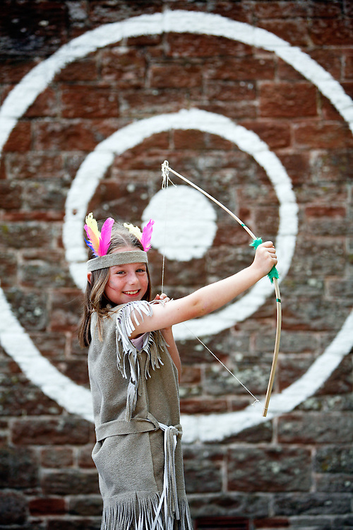 Pupils and teachers at Westnewton School are taking part in International language day by dressing up in costume, making jewellery, face masks and reading stories in Spanish and German...Picture shows Jodie Bennett, 8, dressed up as a native indian...Pics by Ben Russell