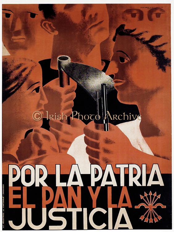 Spanish Falangist poster c1936-1939, Falangist symbol in bottom right corner. 'Por la patria el pan y justicia' (For country, bread and justice). Spanish right-wing Fascist Anti-Communist political party. Propaganda Civil War