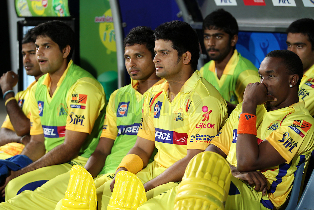 CSK's players in dug out during match 24 of the the Indian Premier League ( IPL) 2012  between The Chennai Superkings and the Pune Warriors India held at the M. A. Chidambaram Stadium, Chennai on the 19th April 2012..Photo by Prashant Bhoot/IPL/SPORTZPICS