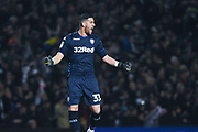 Francisco Casilla of Leeds United (33) celebrates Patrick Bamford of Leeds United (9) scoring a goal to make the score 2-0 during the EFL Sky Bet Championship match between Leeds United and West Bromwich Albion at Elland Road, Leeds, England on 1 March 2019.
