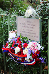 "A permanent memorial in memory of Paris Police officer Ahmed Merabet who was killed in the Paris ""Charlie Hebdo"" shootings on January 7th 2015"